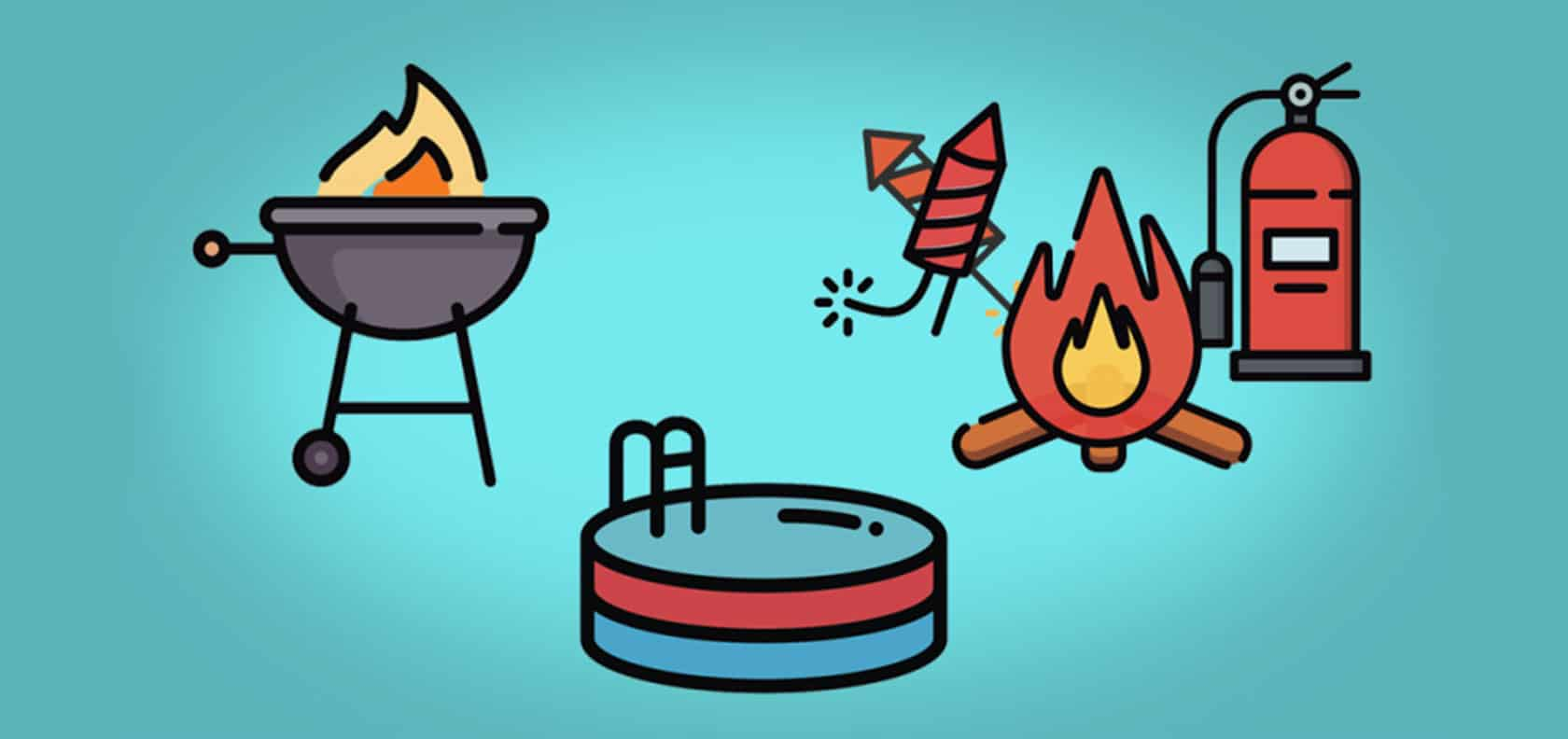 Illustration of safety tips for the summer: barbecue, swimming pool, fireworks, campfire, fire extinguisher.