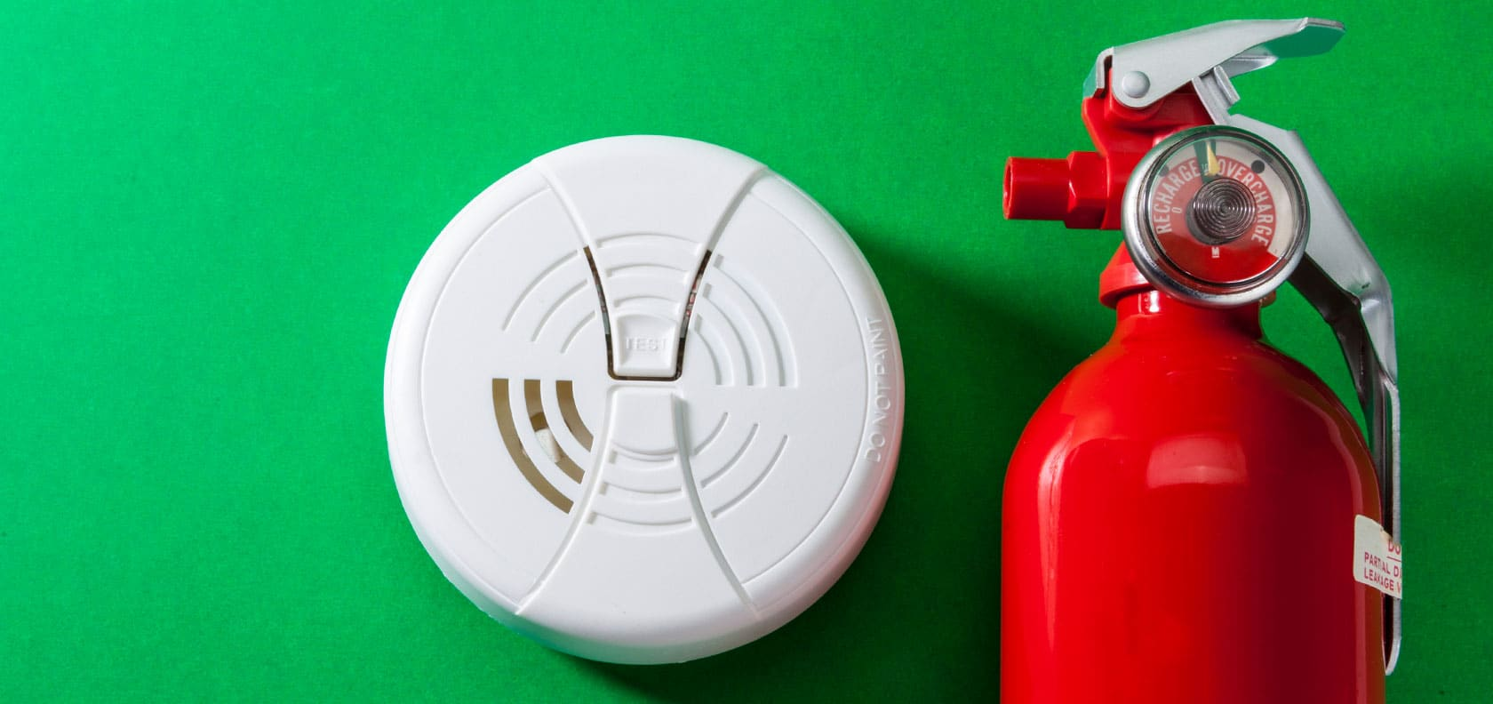 Fire alarm and fire extinguisher.
